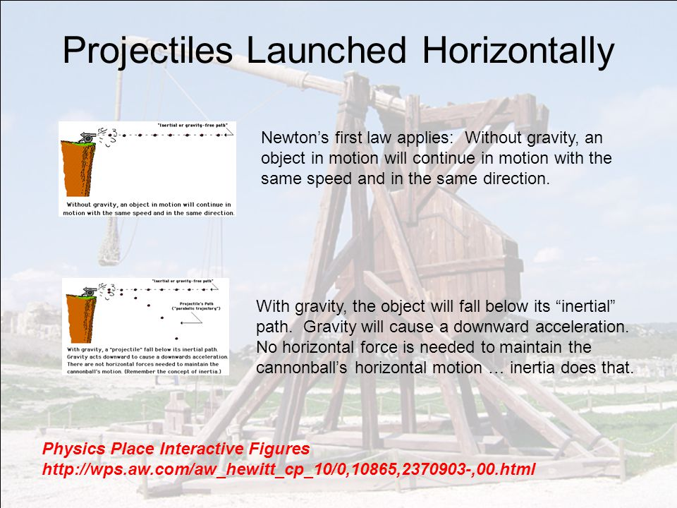 Projectiles Launched Horizontally Newton's first law applies: Without gravity, an object in motion will continue in motion with the same speed and in the same direction.