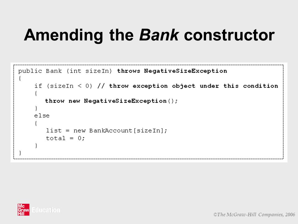 © The McGraw-Hill Companies, 2006 Amending the Bank constructor