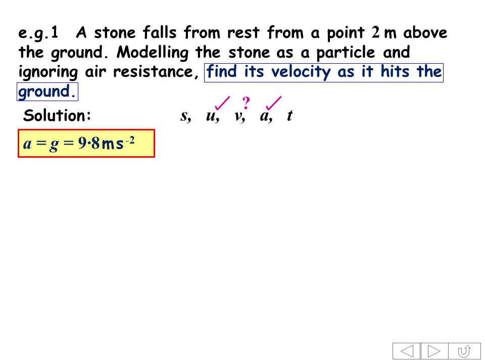 s, u, v, a, t Solution: . e.g.1A stone falls from rest from a point 2 m above the ground.