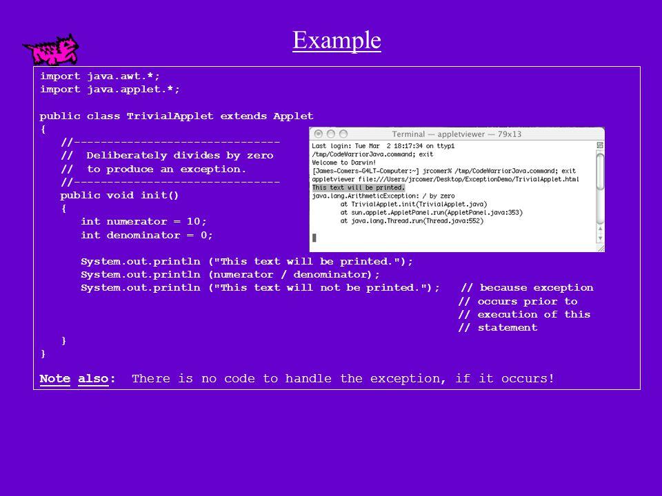 Example import java.awt.*; import java.applet.*; public class TrivialApplet extends Applet { //------------------------------- // Deliberately divides