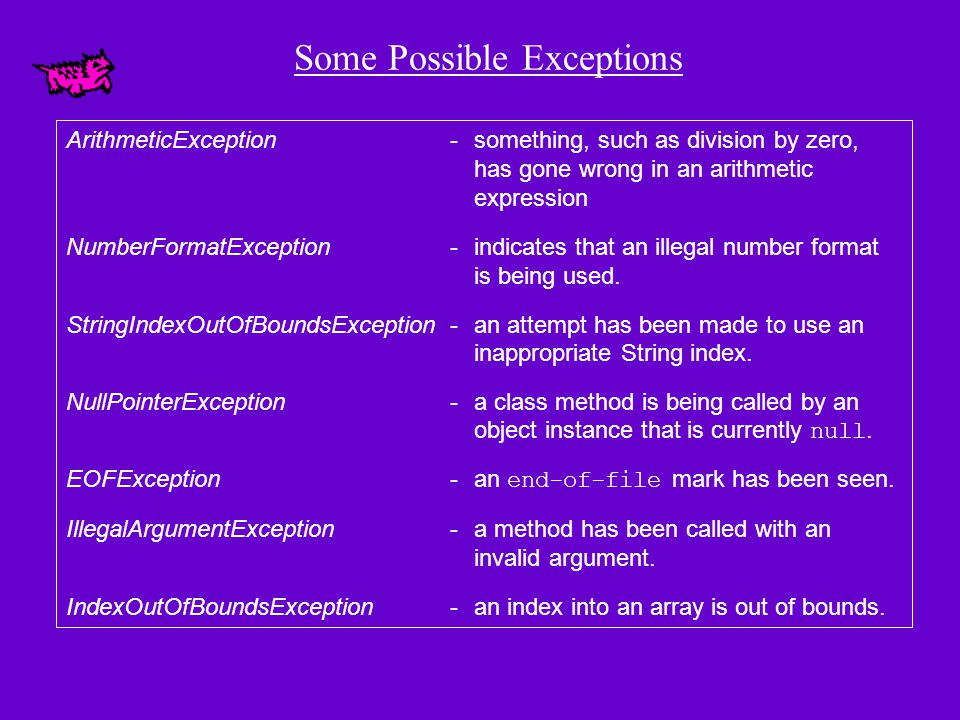 Exceptions As indicated on the earlier slide, Java has a predefined set of exceptions and errors that can occur during execution A program can deal with an exception in one of three ways: ignore it handle it where it occurs handle it in another place in the program The manner in which an exception is processed is an important design consideration
