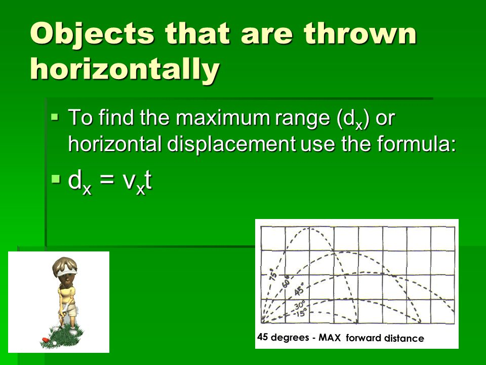 Objects that are thrown horizontally  To find the maximum range (d x ) or horizontal displacement use the formula:  d x = v x t