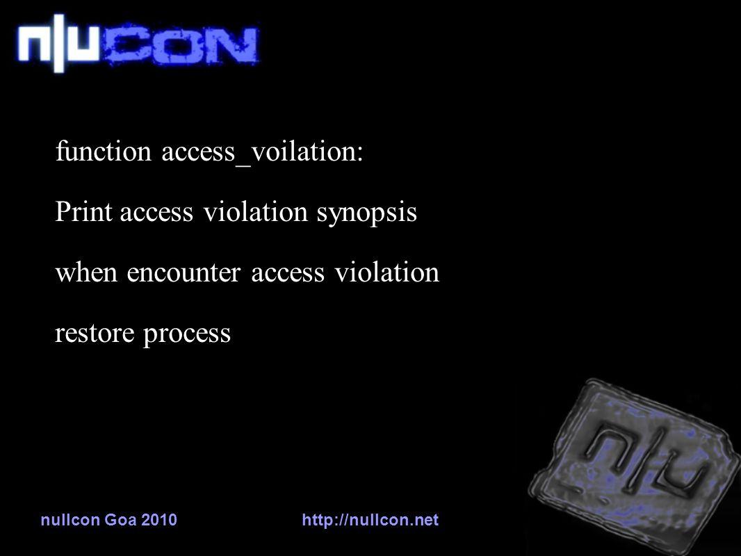 nullcon Goa 2010http://nullcon.net function access_voilation: Print access violation synopsis when encounter access violation restore process