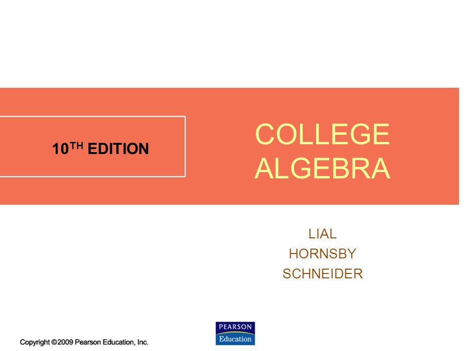 3.1 - 1 10 TH EDITION LIAL HORNSBY SCHNEIDER COLLEGE ALGEBRA