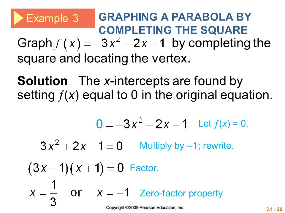 3.1 - 20 Example 3 GRAPHING A PARABOLA BY COMPLETING THE SQUARE Solution The x-intercepts are found by setting  (x) equal to 0 in the original equati