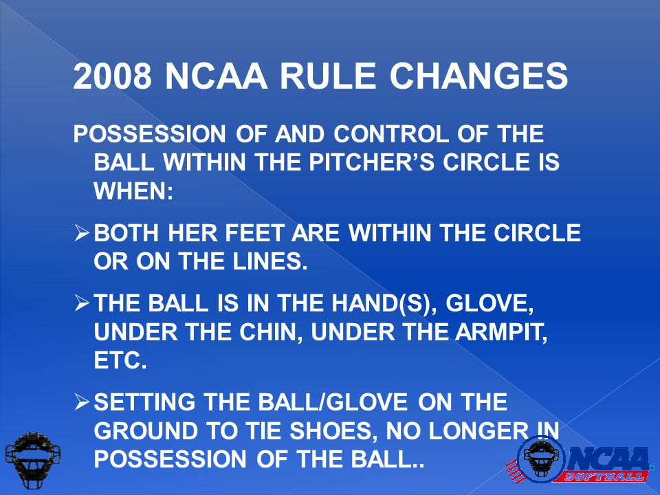 POSSESSION OF AND CONTROL OF THE BALL WITHIN THE PITCHER'S CIRCLE IS WHEN:  BOTH HER FEET ARE WITHIN THE CIRCLE OR ON THE LINES.  THE BALL IS IN THE