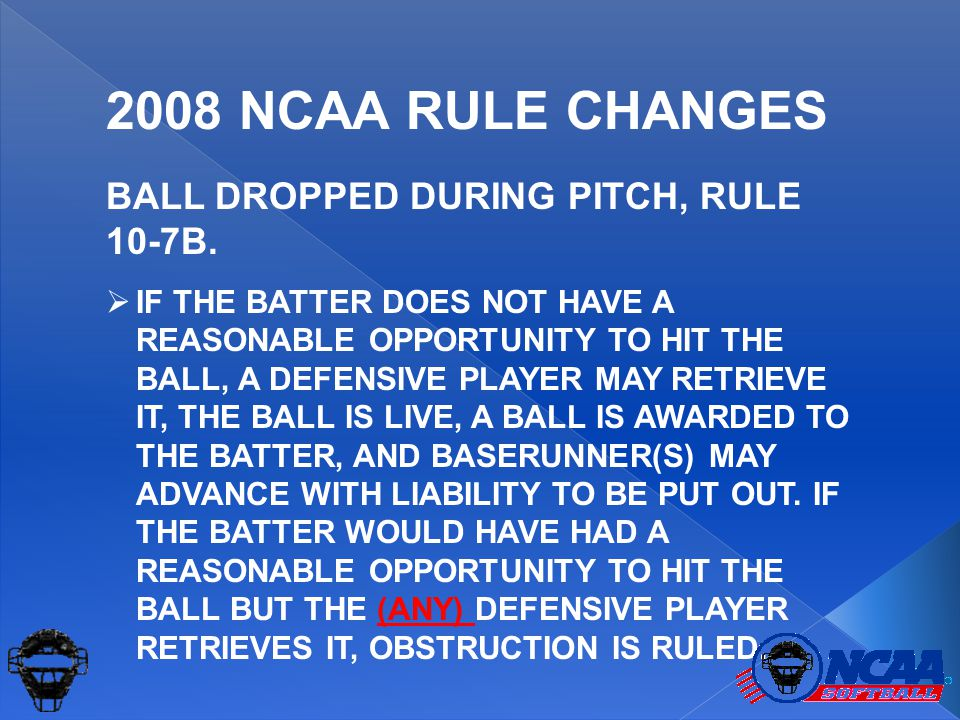 BALL DROPPED DURING PITCH, RULE 10-7B.  IF THE BATTER DOES NOT HAVE A REASONABLE OPPORTUNITY TO HIT THE BALL, A DEFENSIVE PLAYER MAY RETRIEVE IT, THE
