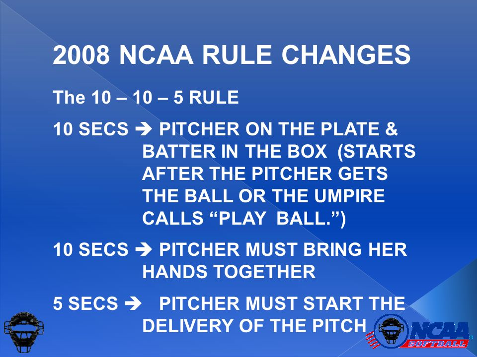 "The 10 – 10 – 5 RULE 10 SECS  PITCHER ON THE PLATE & BATTER IN THE BOX (STARTS AFTER THE PITCHER GETS THE BALL OR THE UMPIRE CALLS ""PLAY BALL."") 10 S"