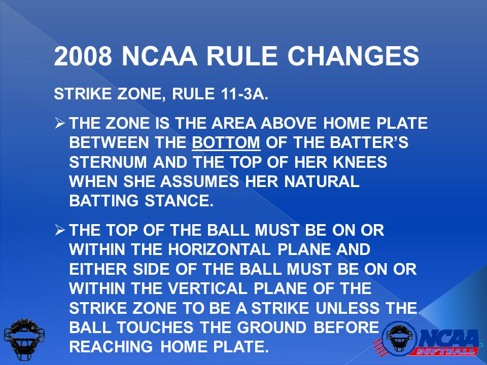STRIKE ZONE, RULE 11-3A.  THE ZONE IS THE AREA ABOVE HOME PLATE BETWEEN THE BOTTOM OF THE BATTER'S STERNUM AND THE TOP OF HER KNEES WHEN SHE ASSUMES