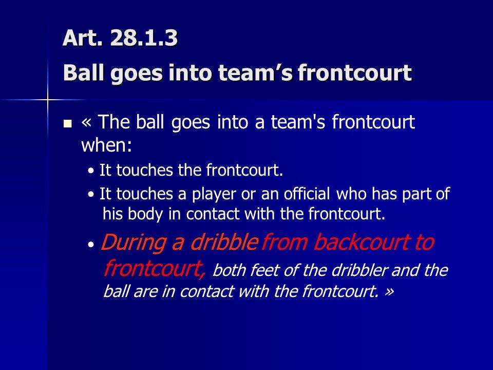 Art. 28.1.3 Ball goes into team's frontcourt « The ball goes into a team's frontcourt when: It touches the frontcourt. It touches a player or an offic