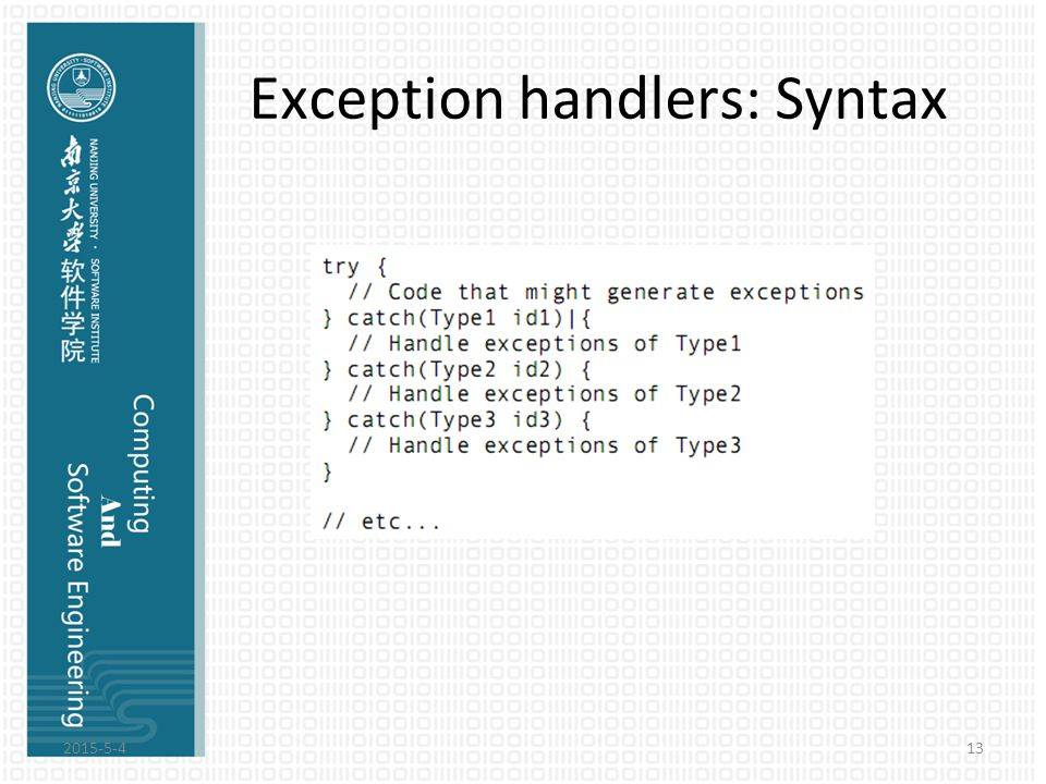 Exception handlers: Syntax 2015-5-413