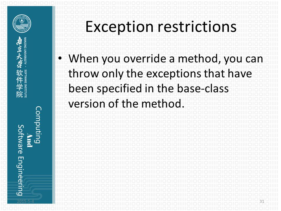 Exception restrictions When you override a method, you can throw only the exceptions that have been specified in the base-class version of the method.