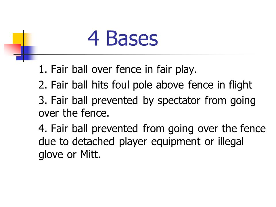 4 Bases 1. Fair ball over fence in fair play. 2. Fair ball hits foul pole above fence in flight 3. Fair ball prevented by spectator from going over th