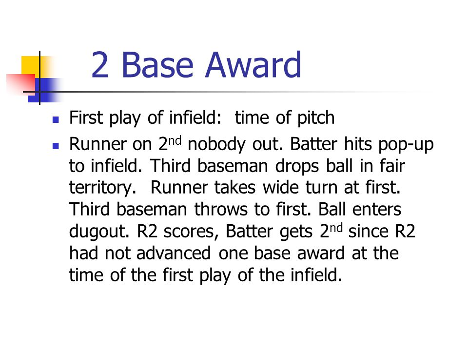 2 Base Award First play of infield: time of pitch Runner on 2 nd nobody out.