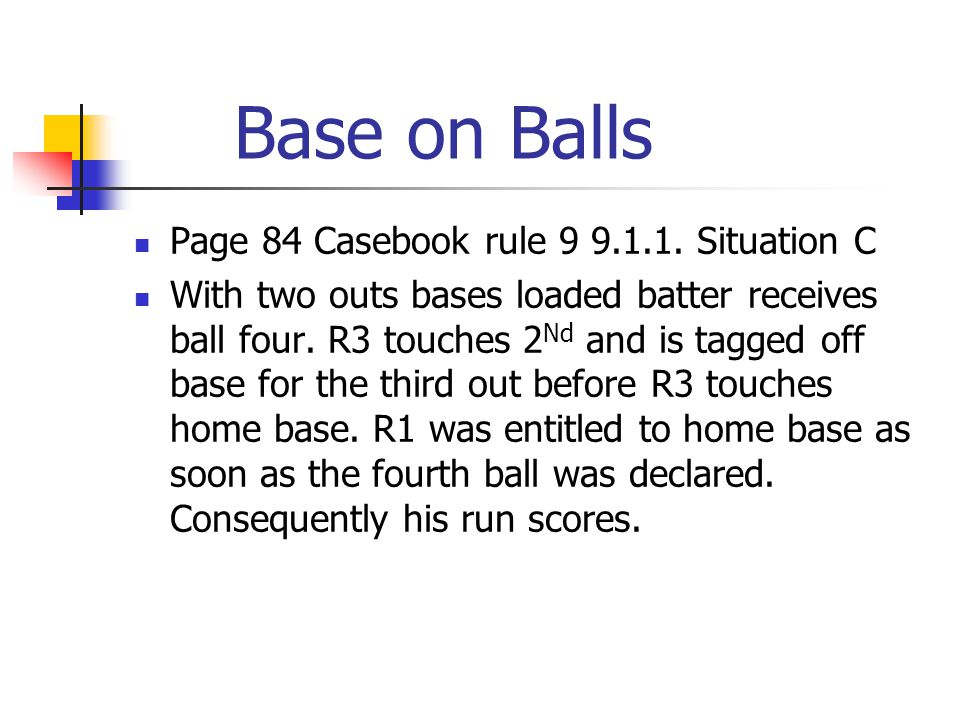 Base on Balls Page 84 Casebook rule 9 9.1.1.