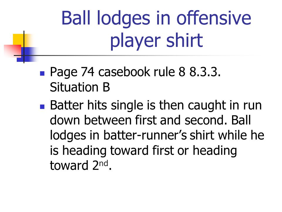 Ball lodges in offensive player shirt Page 74 casebook rule 8 8.3.3.