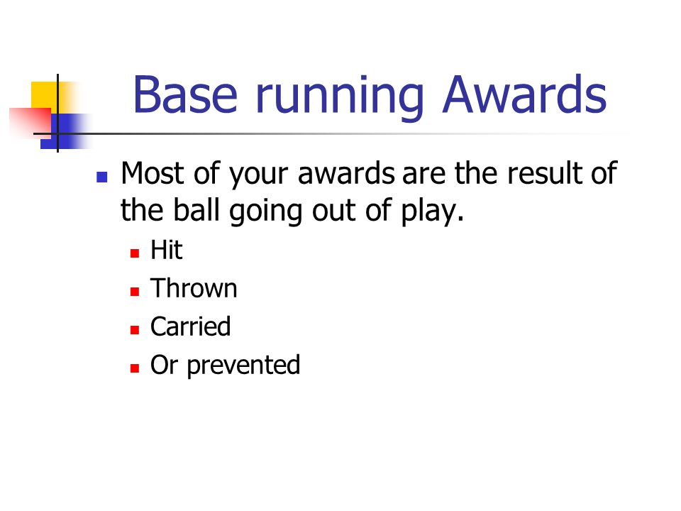 Base running Awards Most of your awards are the result of the ball going out of play.