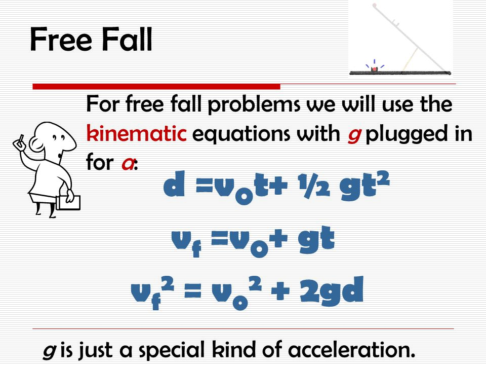Free Fall When gravity acts on an object we call this gravitational acceleration or g.