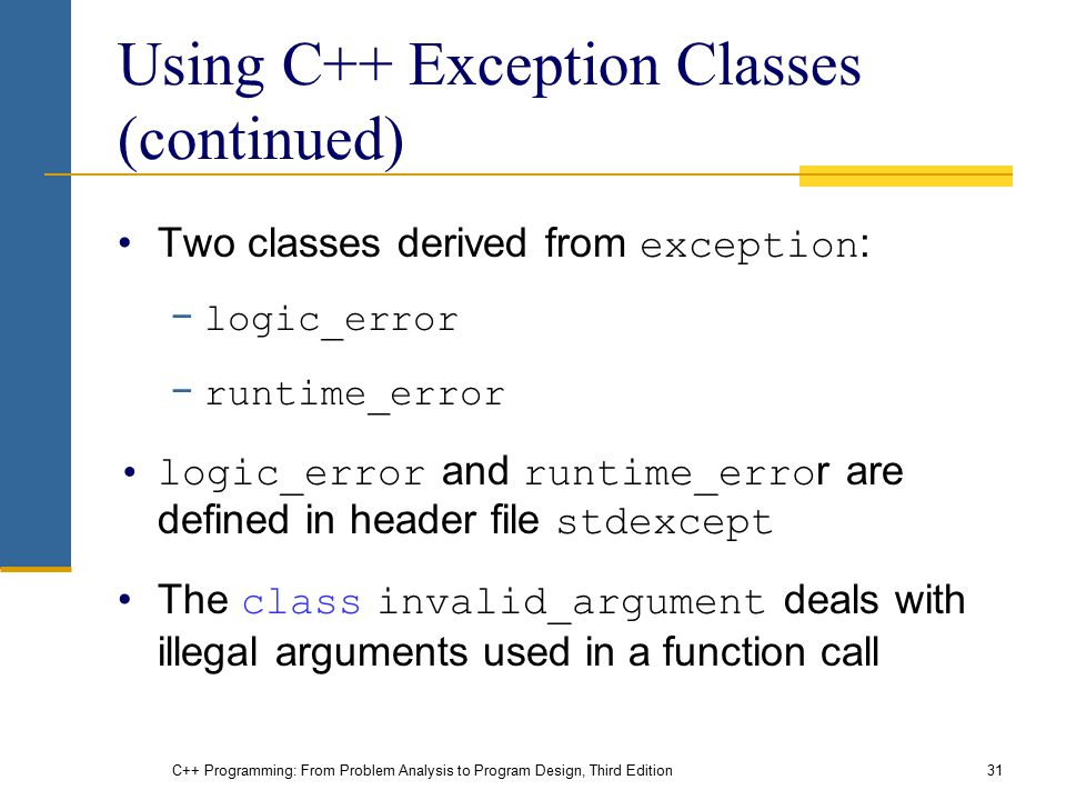C++ Programming: From Problem Analysis to Program Design, Third Edition31 Using C++ Exception Classes (continued) Two classes derived from exception :