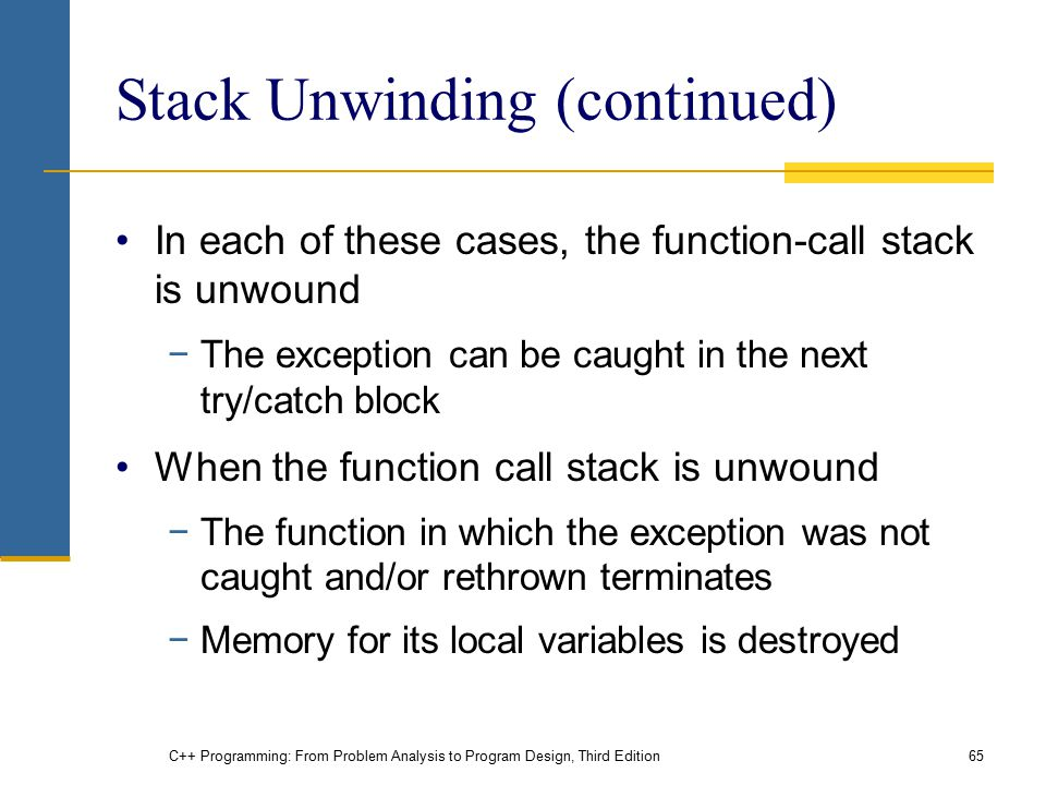 C++ Programming: From Problem Analysis to Program Design, Third Edition65 Stack Unwinding (continued) In each of these cases, the function-call stack