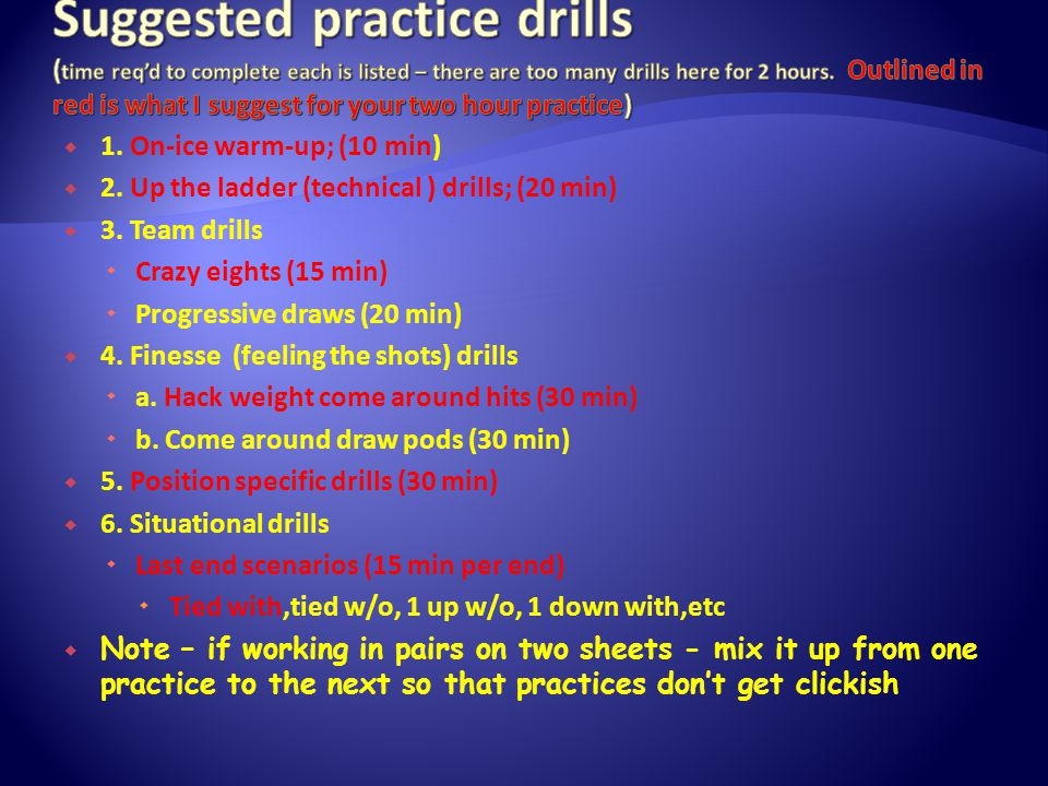  1.On-ice warm-up; (10 min)  2. Up the ladder (technical ) drills; (20 min)  3.