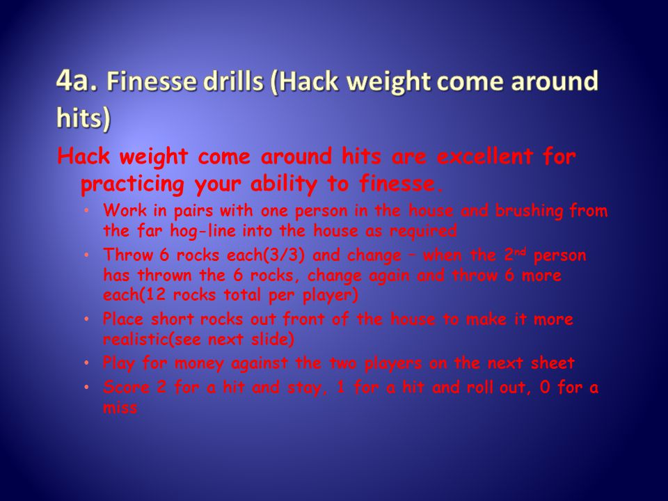 Hack weight come around hits are excellent for practicing your ability to finesse.
