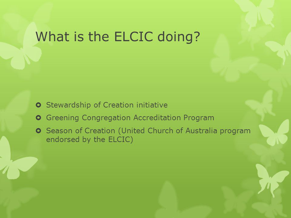 What is the ELCIC doing?  Stewardship of Creation initiative  Greening Congregation Accreditation Program  Season of Creation (United Church of Aus