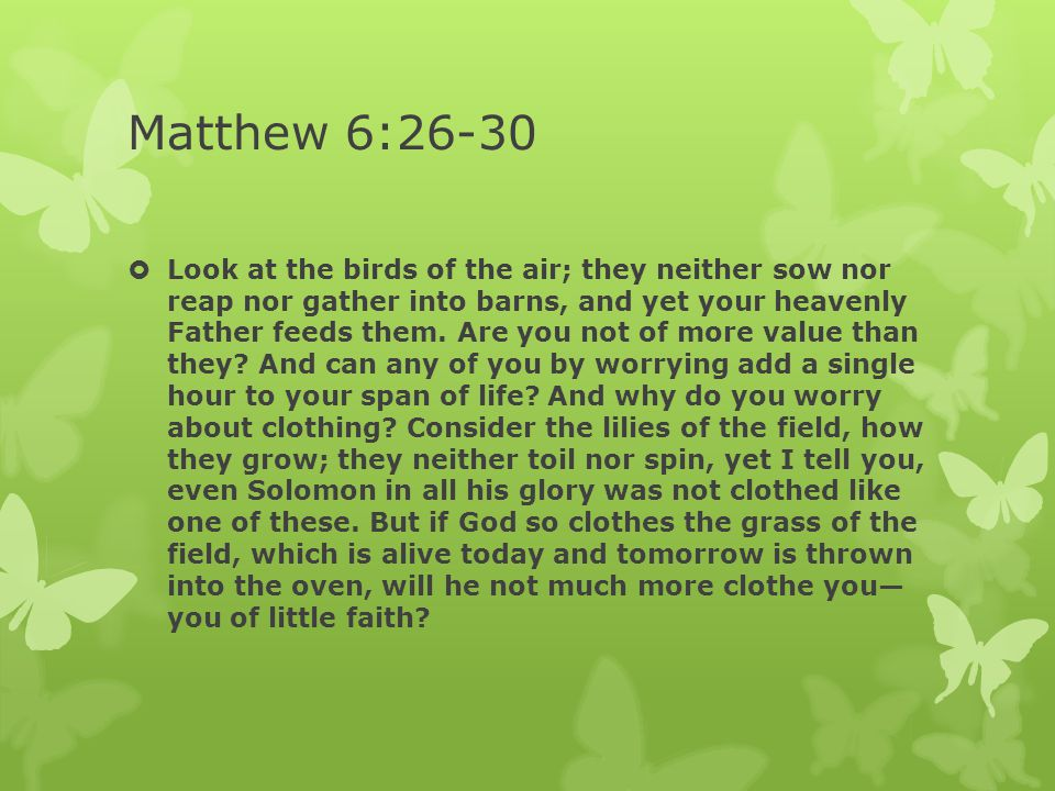 Matthew 6:26-30  Look at the birds of the air; they neither sow nor reap nor gather into barns, and yet your heavenly Father feeds them. Are you not