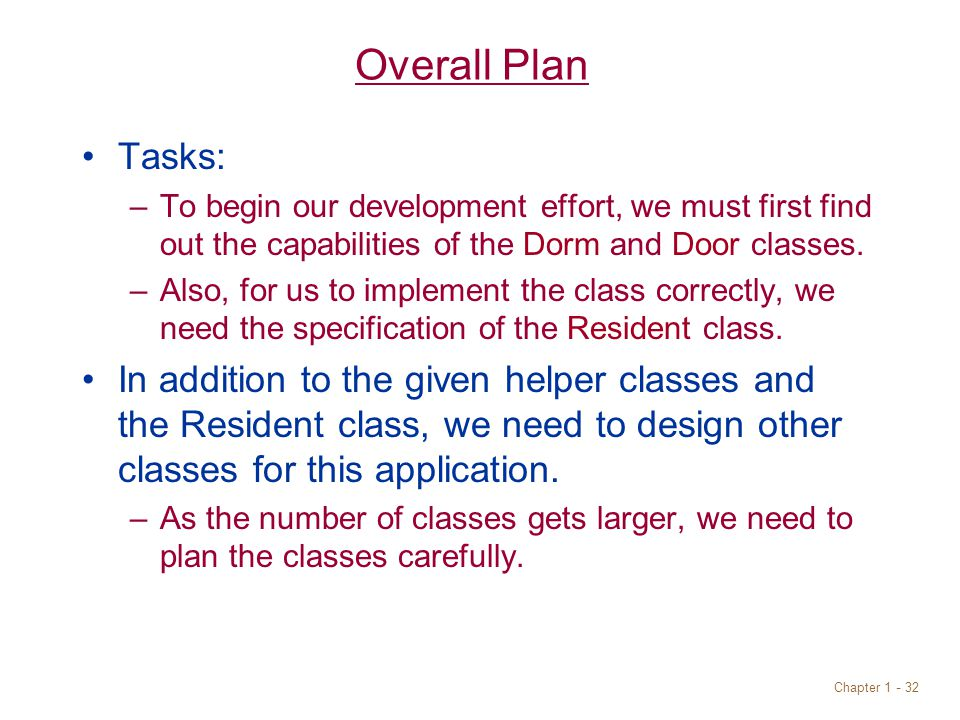 Chapter Overall Plan Tasks: –To begin our development effort, we must first find out the capabilities of the Dorm and Door classes.