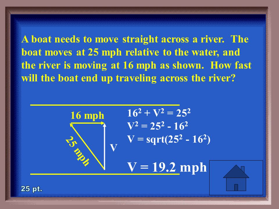 1-25 A boat needs to move straight across a river.