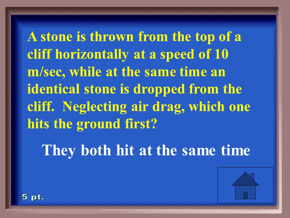 2-5 A stone is thrown from the top of a cliff horizontally at a speed of 10 m/sec, while at the same time an identical stone is dropped from the cliff.