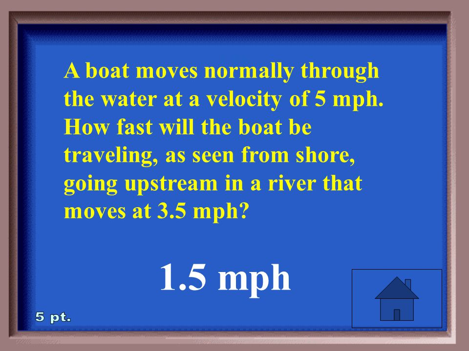 1-5 A boat moves normally through the water at a velocity of 5 mph.