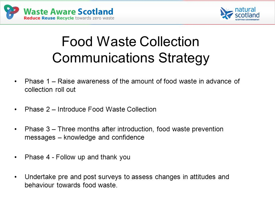 Food Waste Collection Communications Strategy Phase 1 – Raise awareness of the amount of food waste in advance of collection roll out Phase 2 – Introduce Food Waste Collection Phase 3 – Three months after introduction, food waste prevention messages – knowledge and confidence Phase 4 - Follow up and thank you Undertake pre and post surveys to assess changes in attitudes and behaviour towards food waste.