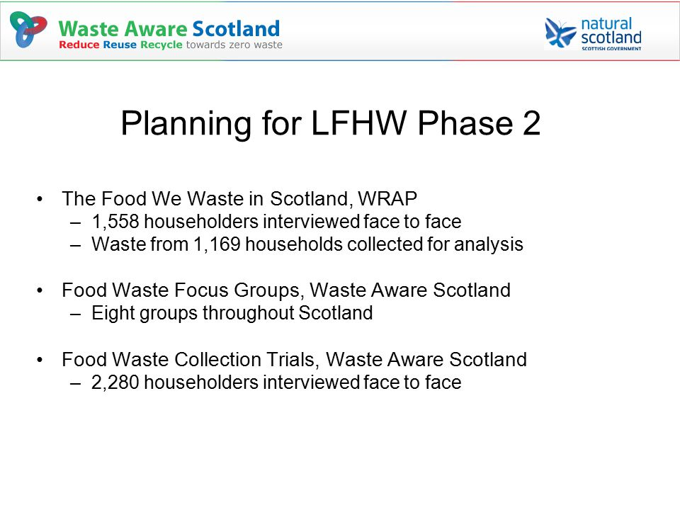 Planning for LFHW Phase 2 The Food We Waste in Scotland, WRAP –1,558 householders interviewed face to face –Waste from 1,169 households collected for analysis Food Waste Focus Groups, Waste Aware Scotland –Eight groups throughout Scotland Food Waste Collection Trials, Waste Aware Scotland –2,280 householders interviewed face to face