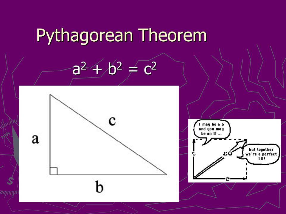 Pythagorean Theorem a 2 + b 2 = c 2 a 2 + b 2 = c 2