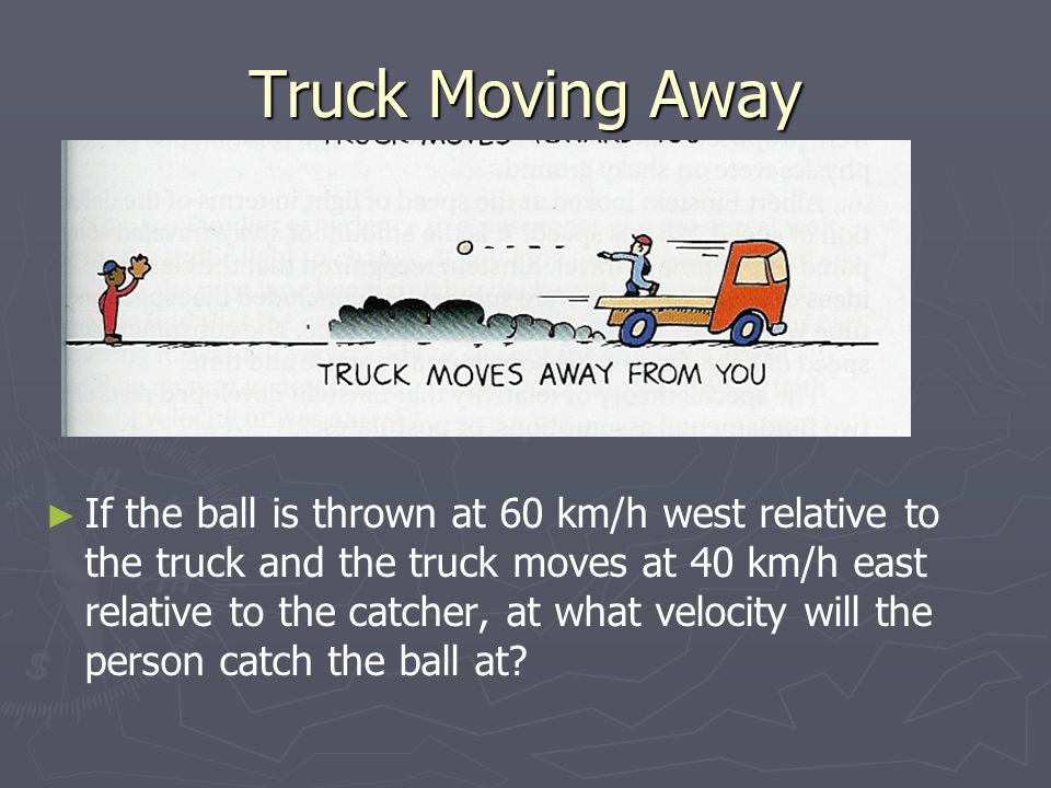 Truck Moving Away ► ► If the ball is thrown at 60 km/h west relative to the truck and the truck moves at 40 km/h east relative to the catcher, at what velocity will the person catch the ball at