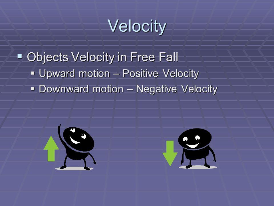 Velocity  Objects Velocity in Free Fall  Upward motion – Positive Velocity  Downward motion – Negative Velocity