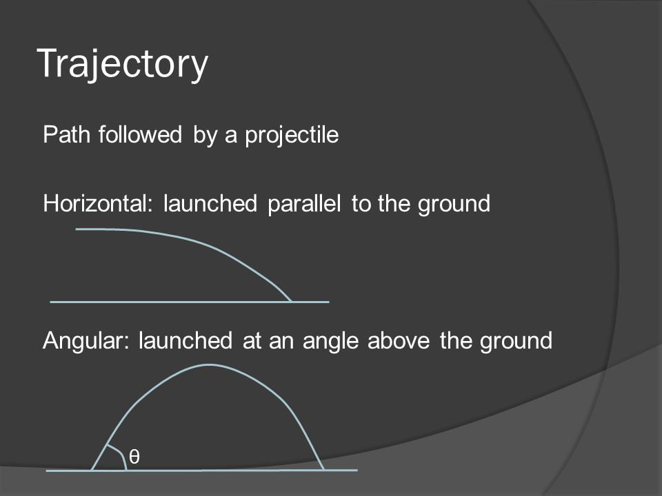 Trajectory Path followed by a projectile Horizontal: launched parallel to the ground Angular: launched at an angle above the ground θ