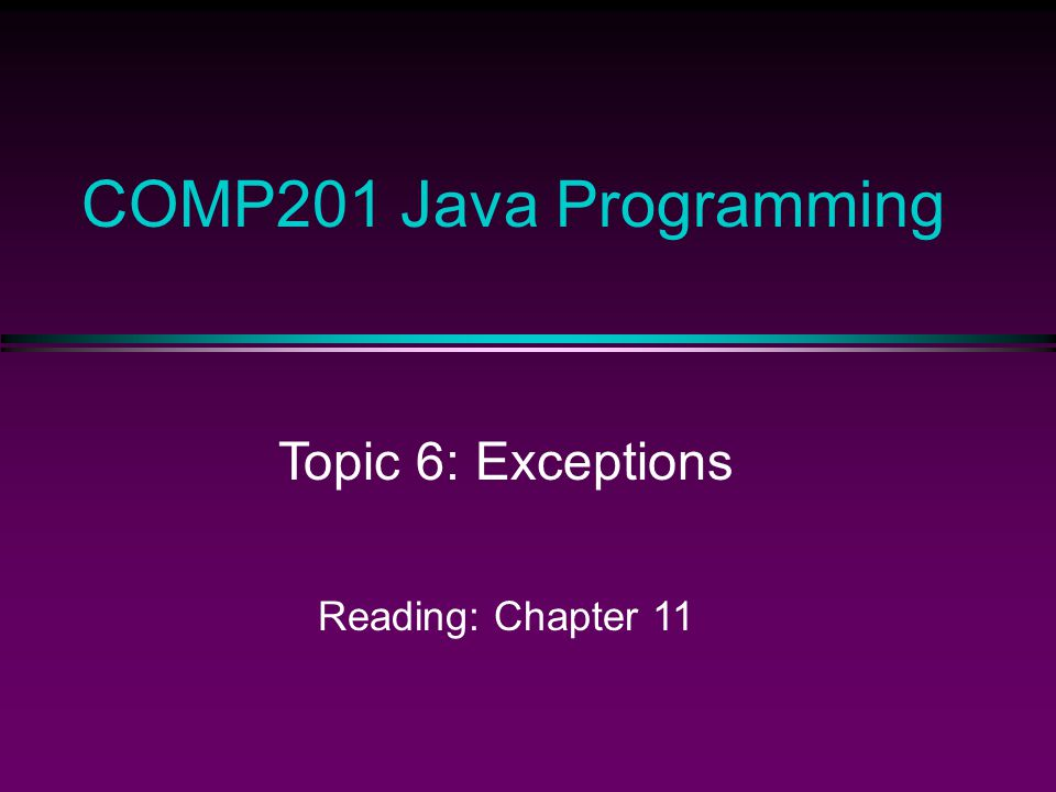 COMP201 Topic 7 / Slide 22 Catching Multiple Exceptions Can have multiple catchers for multiple types of exceptions: public static void main(String[] args) { try { BufferedReader in = new BufferedReader( new FileReader(args[0])); Employee[] e = readData(in); … } catch(IOException e1) { exception.printStackTrace(); } catch(ArrayIndexOutOfBoundsException e2) { System.out.print( No file name provided ); System.exit(1); } } // ExceptionTest2.java What if GeneralSecurityException occurs in the try block.