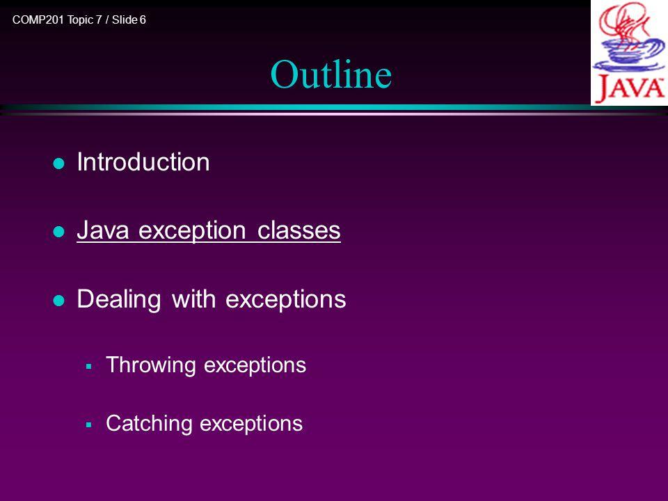 COMP201 Topic 7 / Slide 7 Java Exception Classes JVM internal errors l Java has many classes for error handling.