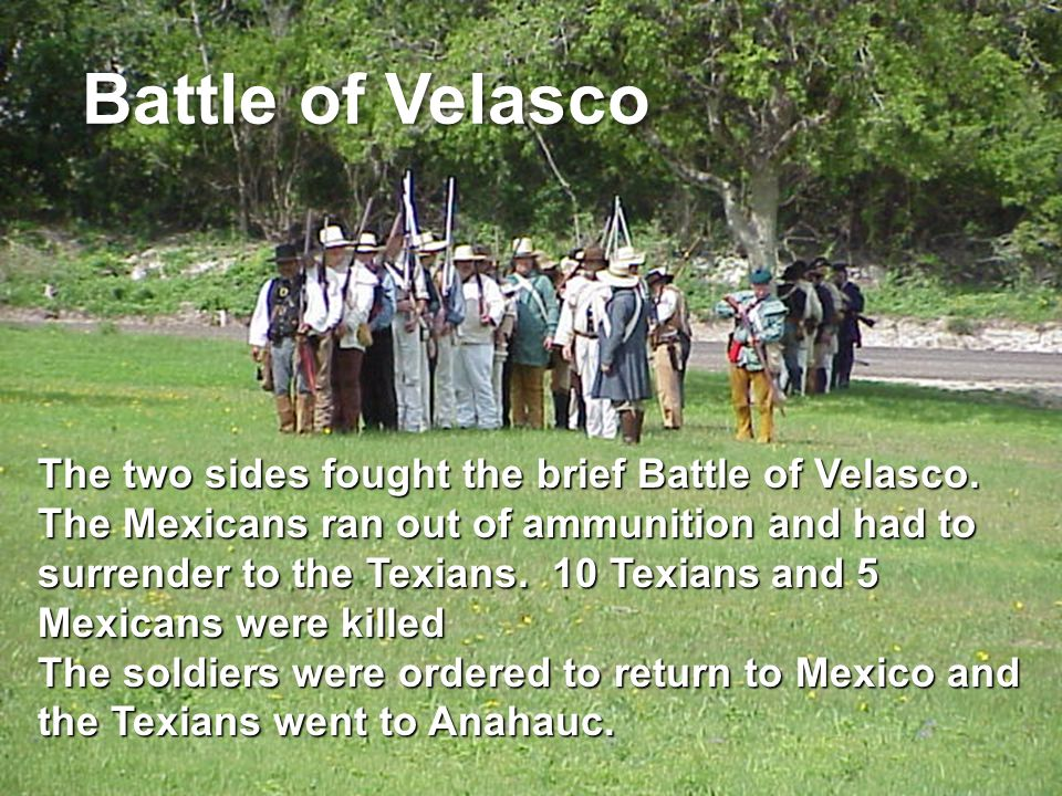 The two sides fought the brief Battle of Velasco.
