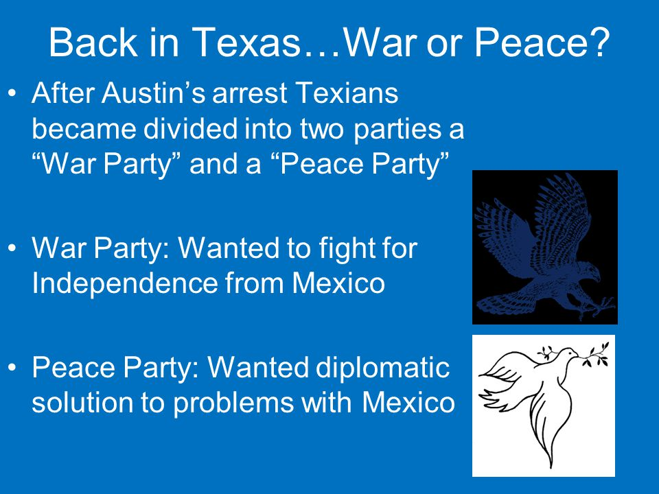 Back in Texas…War or Peace.