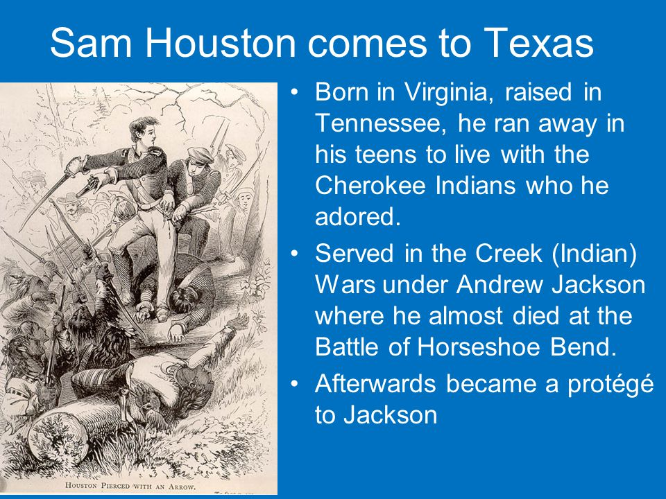 Sam Houston comes to Texas Born in Virginia, raised in Tennessee, he ran away in his teens to live with the Cherokee Indians who he adored.
