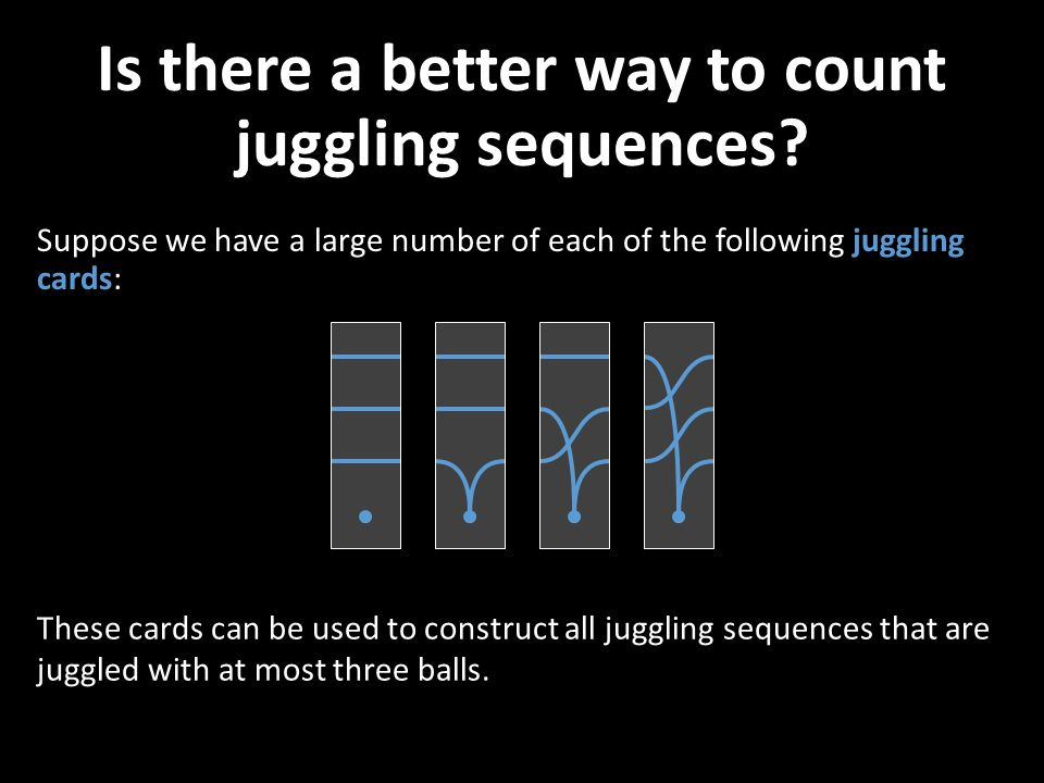 Is there a better way to count juggling sequences? Suppose we have a large number of each of the following juggling cards: These cards can be used to