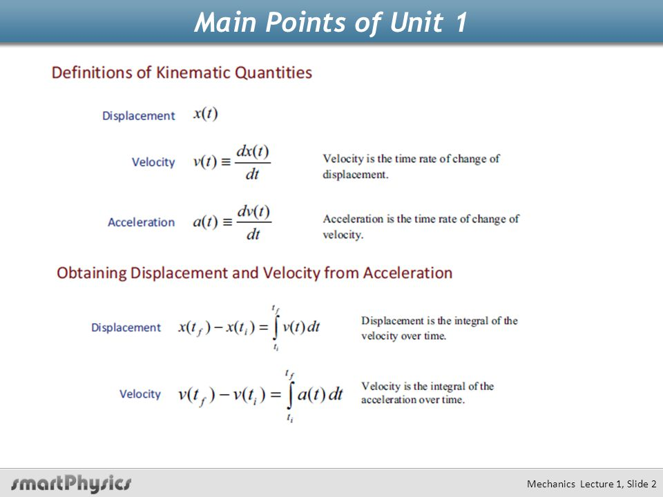 Main Points of Unit 1 Mechanics Lecture 1, Slide 2