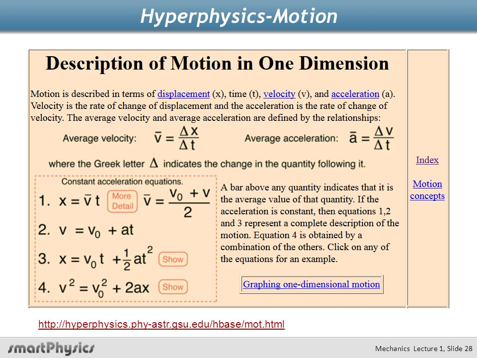 Hyperphysics-Motion Mechanics Lecture 1, Slide 28 http://hyperphysics.phy-astr.gsu.edu/hbase/mot.html