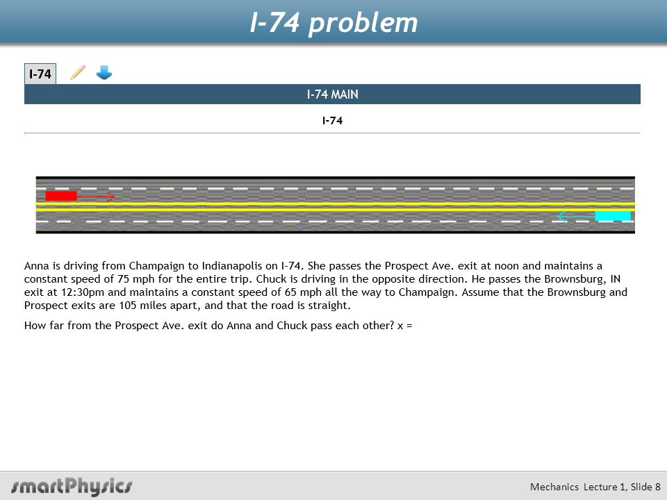 I-74 problem Mechanics Lecture 1, Slide 9 Facts Equations Where are the cars when they meet?The same place Solve for meeting time Where was Chuck when Anna passed prospect avenue.