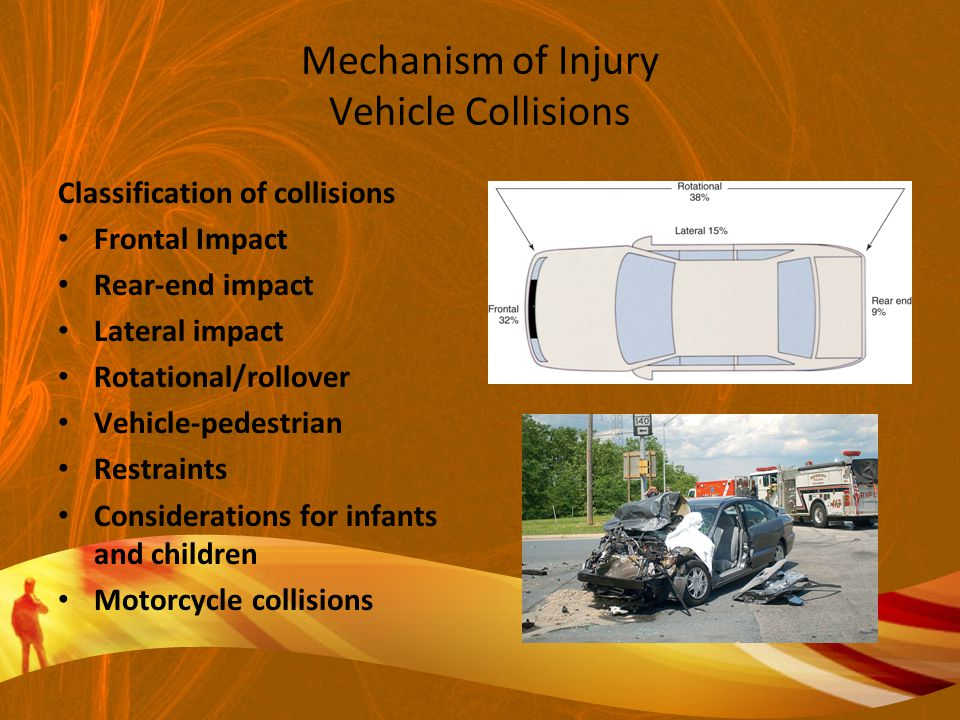 Mechanism of Injury Vehicle Collisions Classification of collisions Frontal Impact Rear-end impact Lateral impact Rotational/rollover Vehicle-pedestrian Restraints Considerations for infants and children Motorcycle collisions