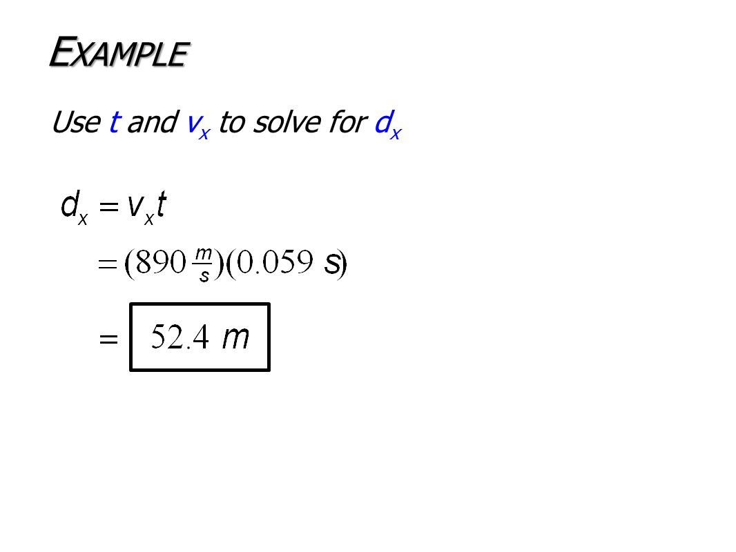 Use t and v x to solve for d x E XAMPLE