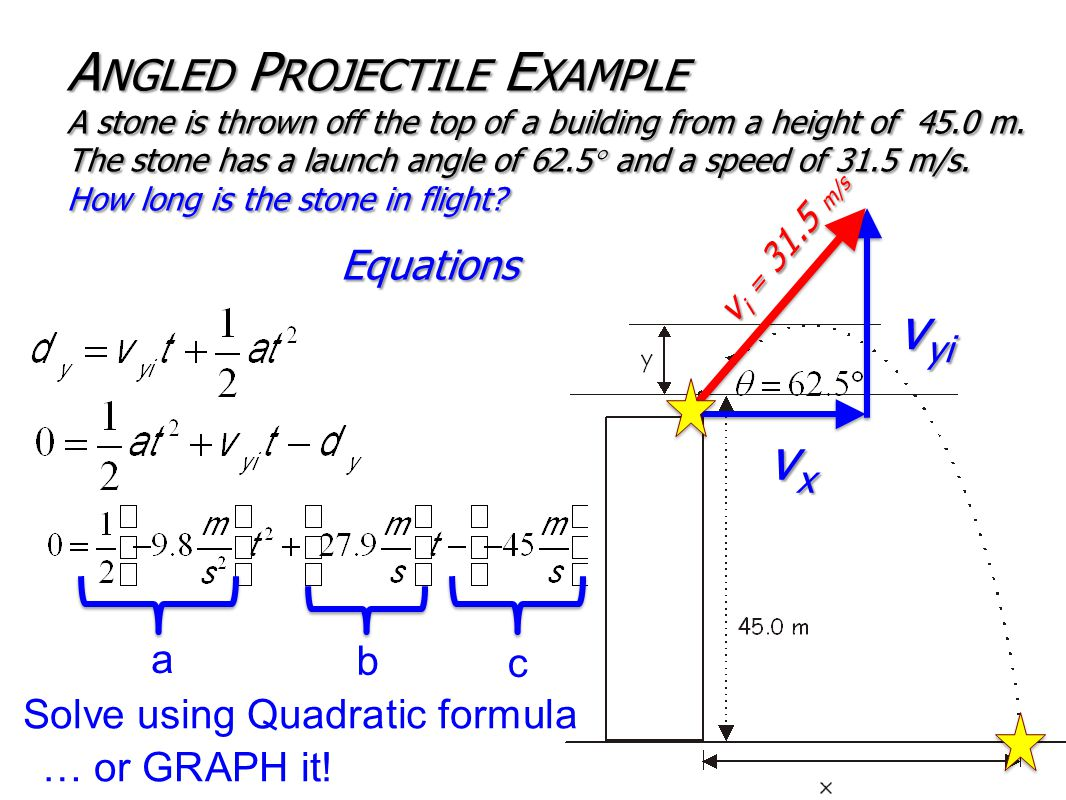 Equations A NGLED P ROJECTILE E XAMPLE A stone is thrown off the top of a building from a height of 45.0 m.